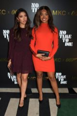 LONDON, ENGLAND - SEPTEMBER 29: Cameron Valentina and Serena Horsham attend a private screening of 'No Time To Die' hosted by Michael Kors in celebration of the Michael Kors Bond 007 Capsule Collection partnership, at the Everyman Chelsea on September 29, 2021 in London, England. (Photo by David M. Benett/Dave Benett/Getty Images for Michael Kors)