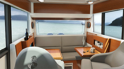 Completely laid out around the wheelhouse, the boat demonstrates a great fluidity in moving around, optimisation of space, clever and numerous stowage areas, etc.