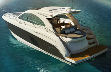 The Flyer Gran Turismo 44 concentrates the best technology: the famous Air Step®* hull (designed by Engineers : Patrick tableau, Maud Tronquet and Rémi Laval-Jeantet) combined with Stern Drive propulsion (2 x 370HP Volvo D6).