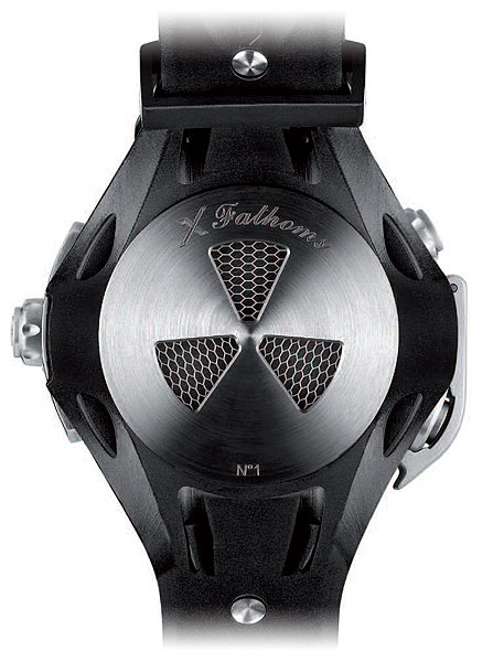 The rear of the Blancpain X Fathoms divers watch