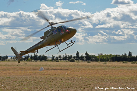 The Eurocopter AS350 Hybrid helicopter with combustion engine and electric motor