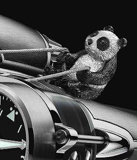 MB&F Horological Machine No.4 Thunderbolt Flying Panda 18K white gold watch
