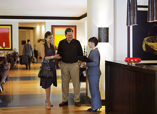 The reception lobby and welcome at the Club at Saujana Resort