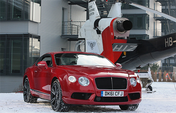 Bentleys new Continental V8 makes a dramatic debut suspended over Munich by helicopter.