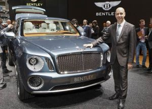 Wolfgang Duerheimer, Chairman & Chief Executive of Bentley addresses the crowd at Geneva.