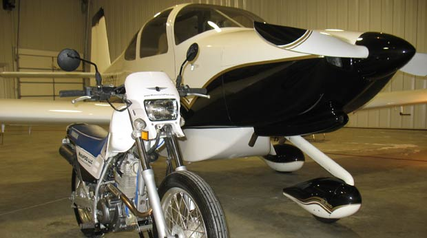 Motorcycles take flight with a new innovative motorcycle loading system for personal airplanes.