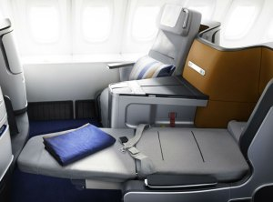 The New Lufthansa Business Class seat with horizontal sleeping surface.