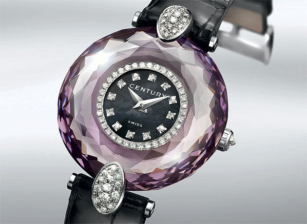 The Century Mogul Alexandrite ladies wrist watch with diamonds and mother of pearl dial.