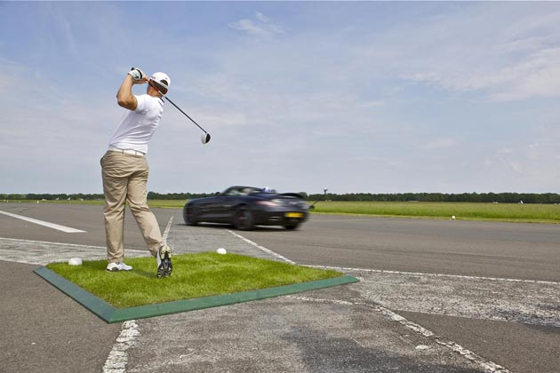 A Mercedes SLS AMG and a 178mph golf ball combine to make a new world record.