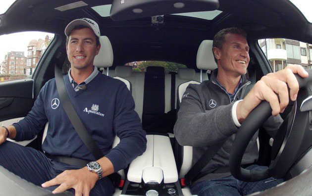 David Coultard chauffers golfer Adam Scott in the new Mercedes CLS 63 AMG Shooting brake.