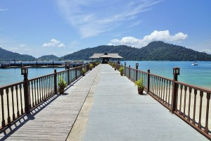 The magnificent jetty that greets you upon arrival at Pangkor Laut