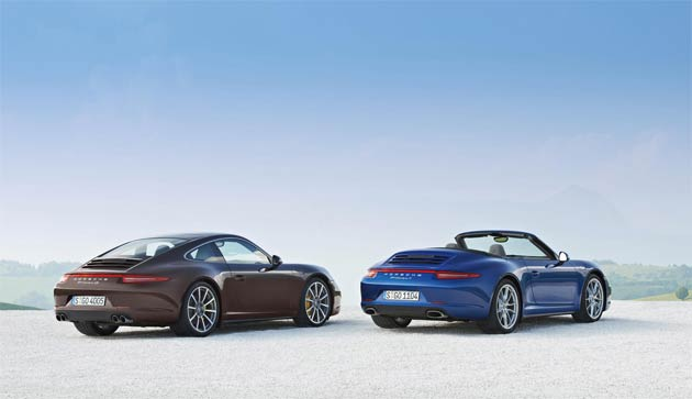 The new all-wheel drive 911 is available in four versions; the 911 Carrera 4 and 911 Carrera 4S, and as a Coupé and Cabriolet. Each model shares identical characteristics to the rear-wheel drive versions, including lightweight body design, suspension, engine choices and gearbox options; the only exceptions are modifications related to the all-wheel drive. The innovative aluminium-steel composite body construction of the 911 helps deliver a weight saving of up to 65kg versus the prior model; consequently, despite the higher level of performance, the new 911 Carrera 4 models also offer up to 16 per cent lower fuel consumption.