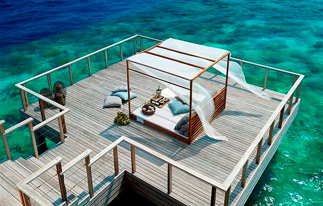 Located on Mudhdhoo Island in Baa Atoll, Dusit Thani Maldives is just 35 minutes by seaplane from the capital Malé and only 10 minutes by speed boat from the new domestic airport opening in late 2012. It is also just a short boat ride away from Hanifaru Huraa, the UNESCO World Biosphere Reserve.