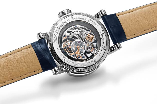 Grieb & Benzinger presents the Blue Whirlwind, the world's first watch powered by a visible tourbillon movement by Patek Philippe based on a rare skeletonized tourbillon minute repeater caliber.