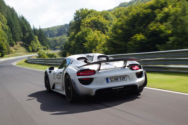 "The lap time of the Porsche 918 Spyder prototype is one of the best ever clocked for street-legal vehicles with standard production tyres. The course was only available to the development team from Weissach for one lap, and it had to be started from a standstill. The plug-in hybrid super sports car with over 795 hp was equipped with production tyres from development partner Michelin as well as the optional ""Weissach"" package, which integrates modifications that boost driving performance."