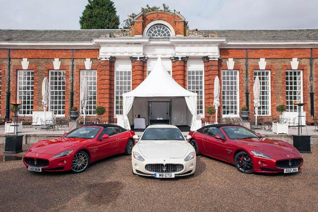 Maserati had the pleasure of supporting such an extraordinary event by chauffeuring guests to and from the magnificent venue throughout the day. As darkness fell The Orangery looked even more spectacular as pink lighting illuminated the outside and glistened against the Maseratis on display.