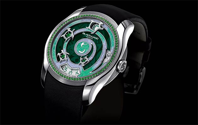 The Blacksand Continuity Sea Turtle Emerald ladies wrist watch in 18k white gold with emerald and tsavorites.