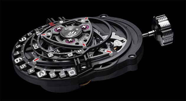 Urwerk founders Felix Baumgartner and Martin Frei had a concept featuring Wankel engine inspired indications that they had not yet developed, and they suggested their constructor Cyrano Devanthey could develop and produce a movement based on that. MB&F partners Maximilian Büsser and Serge Kriknoff teamed up with independent watch designer Eric Giroud to design and produce the case. Experiment ZR012 was born! C3H5N3O9 is an experimental platform, not a luxury brand.