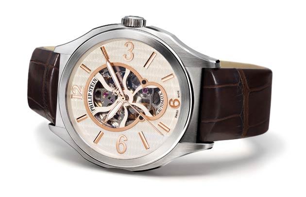 The Philip Stein Prestige Round Skeleton Heart 45mm wrist watch.
