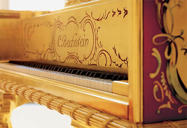 The touch of this unique instrument is just as luxurious as its ornamentation: the perfectly balanced action responds to every nuance of the pianist's playing.