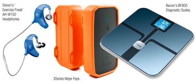 Denon's 'Exercise Freak' AH-W150 headphones, XSories Weye Feye, Beurer's BF800 Diagnostic Scales