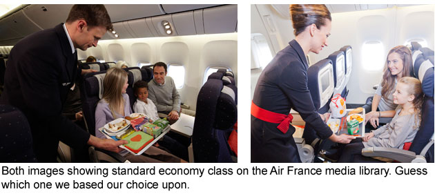 Take a look at both images from the economy section of the Air France online media database, our decision to fly economy with the airline was based upon the image shown on the left, in reality what we had was the space in the image shown on the right.