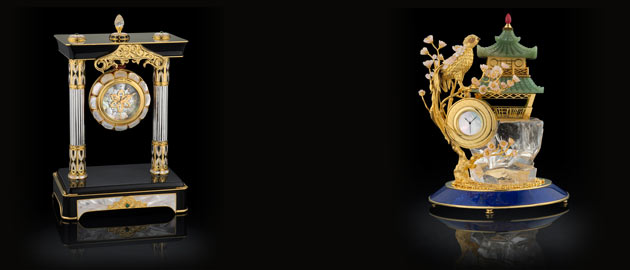 Royal Insignia Black Onyx desk clock and Golden Canary
