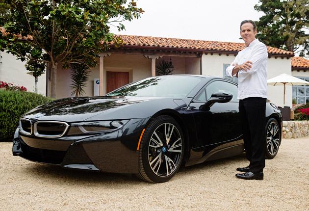 Chef Thomas Keller with his new BMW i8 at Pebble beach
