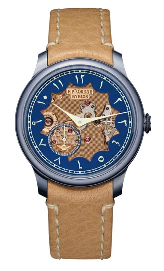 The F.P.Journe Chronomètre Bleu Byblos with Eastern Arabic numerals and visible rose Gold movement