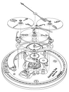 Exploded view of the movement A&S6018 showing the wandering hours and the true beat seconds complication