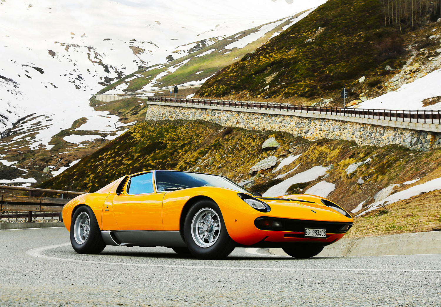 Lamborghini Miura P400 on the original Italian Job movie route