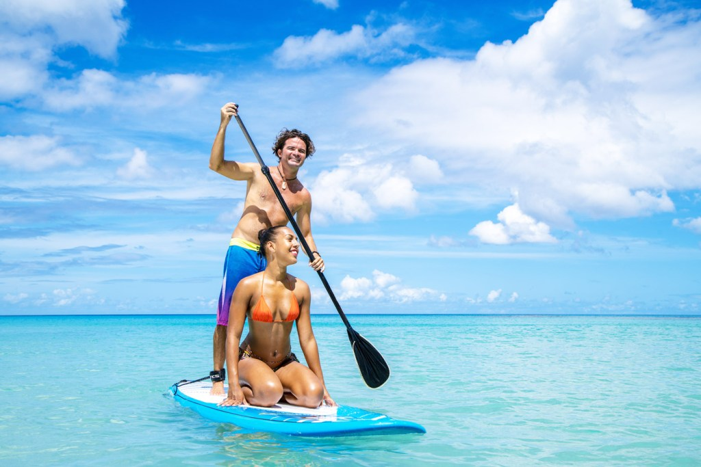 Paddle boarding in Barbados.