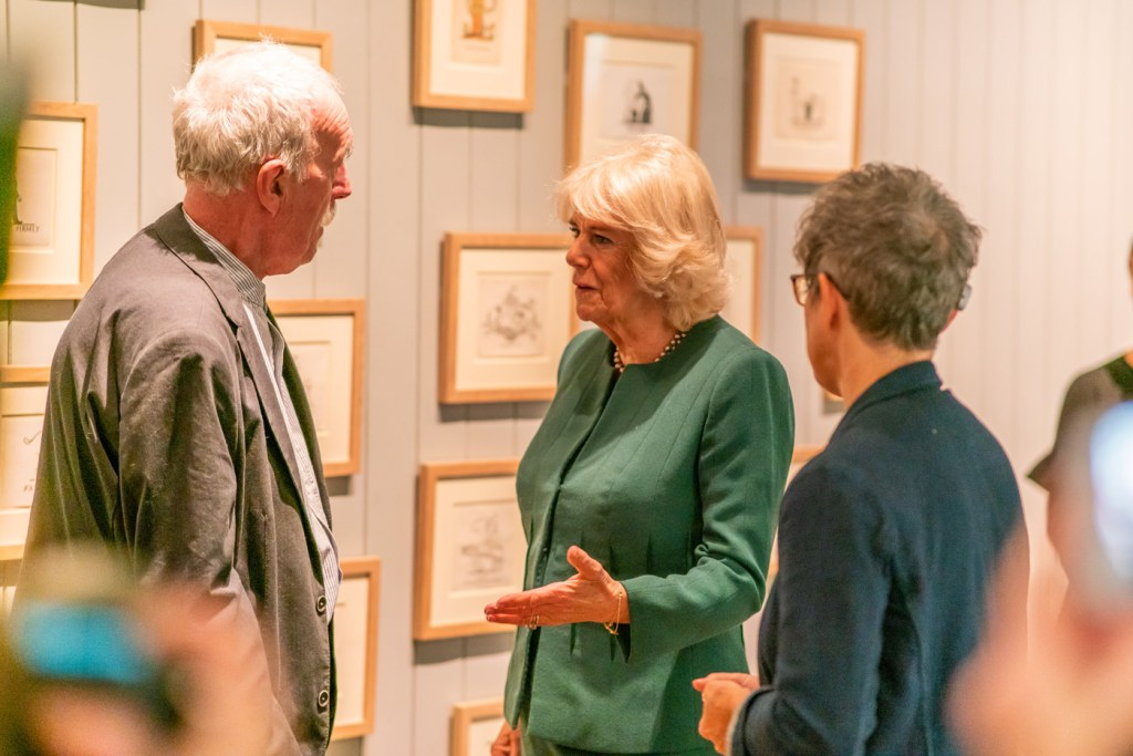 The Duchess of Cornwall met some of the artists on show.
