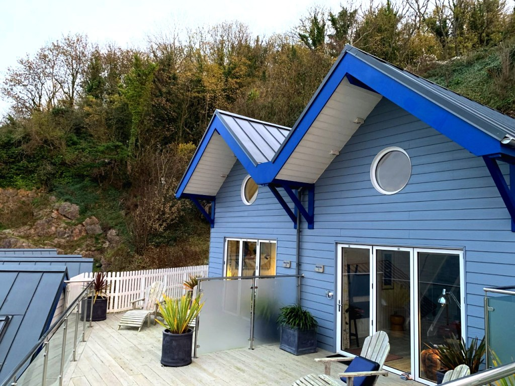 Duplex beach huts at the Cary Arms Devon