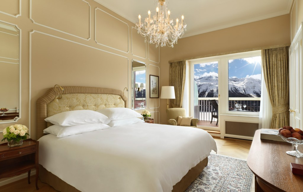 Bedroom suite at the Badrutt's Palace Hotel. Photo by Paul Thuysbaert.