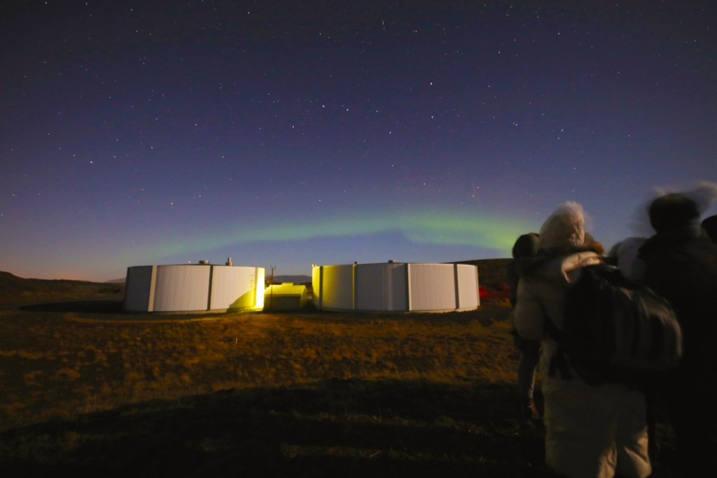 A view of the Northern Lights in Iceland
