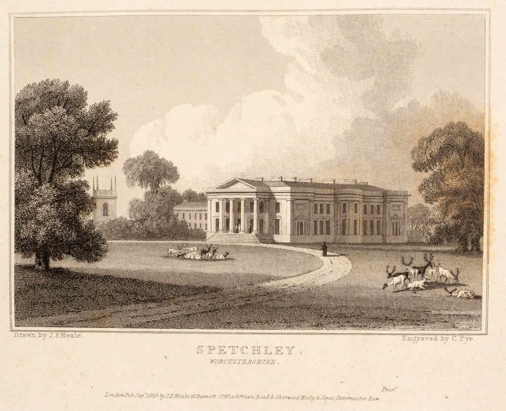 Artists proof of Spetchley Park Worcestershire drawn by J.P.Neale