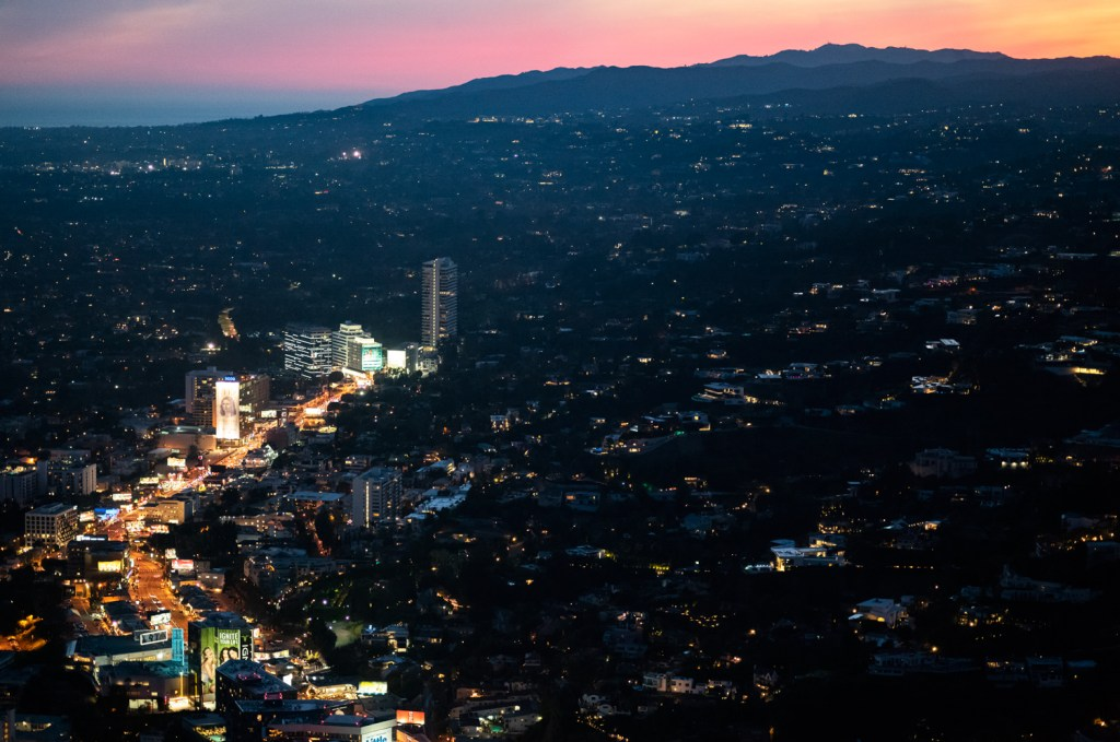 Sunset strip and the West Hollywood Hills at night