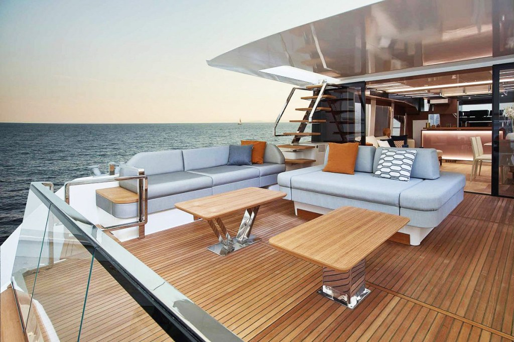 The lounge and deck on the Prestige X70