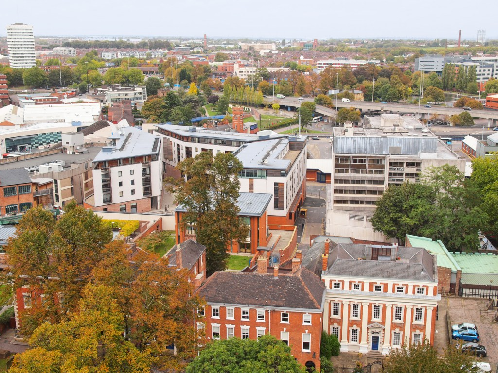 Aerial view of Coventry City Centre