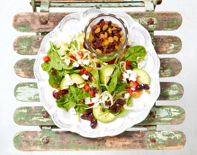 Juicy South African Raisin, Avocado and Feta Salad