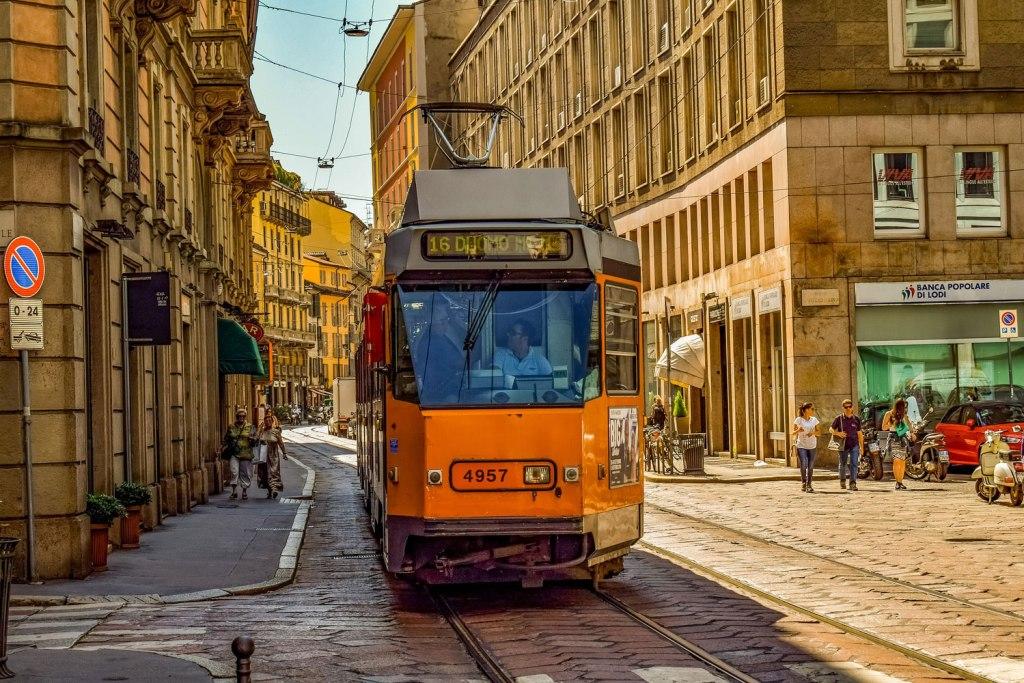 Tram running in Milan, Italy