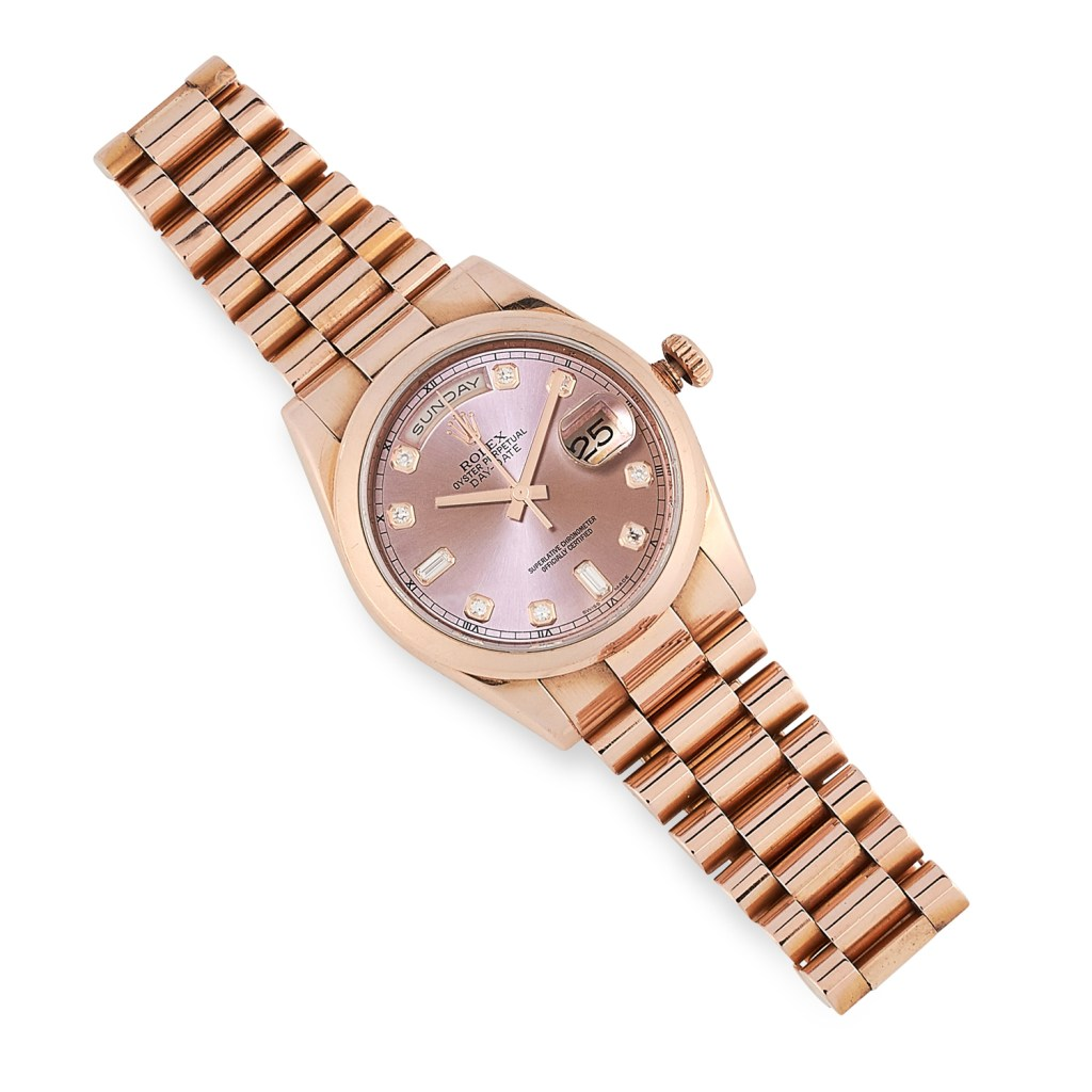 Rolex ladies oyster perpetual day-date wristwatch