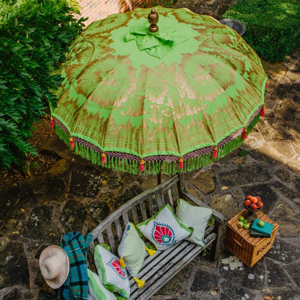 Each parasol and cushion is made by hand