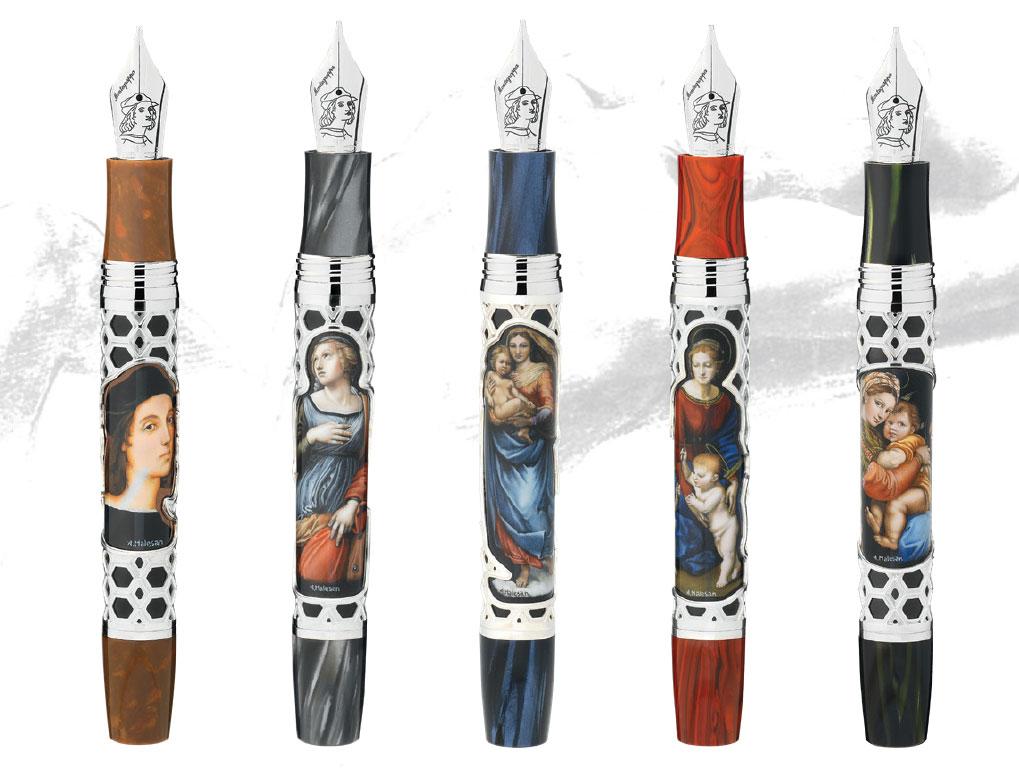 Individual pens in the Montegrappa Raffaello 500th Anniversary