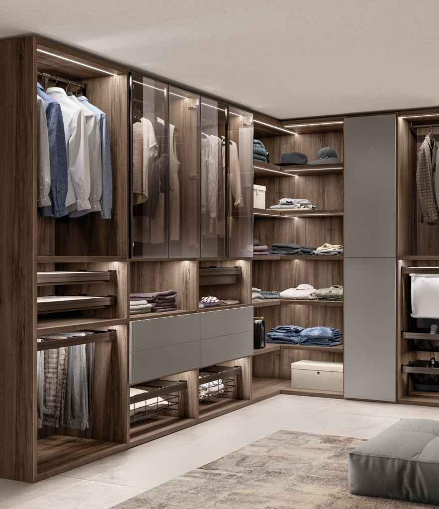 Scavolini walk-in wardrobe is available in five colours