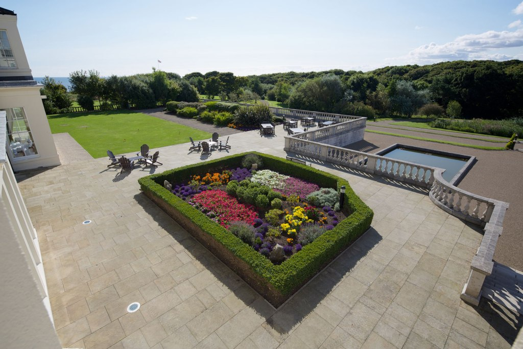 The terrace at Seaham Hall in Durham