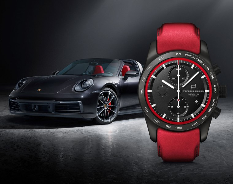 Porsche 911 with Red Porsche Design Chronograph Watch