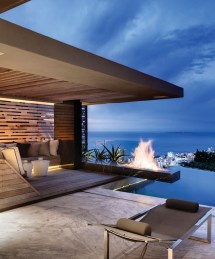 Modern Pool House with Fireplace