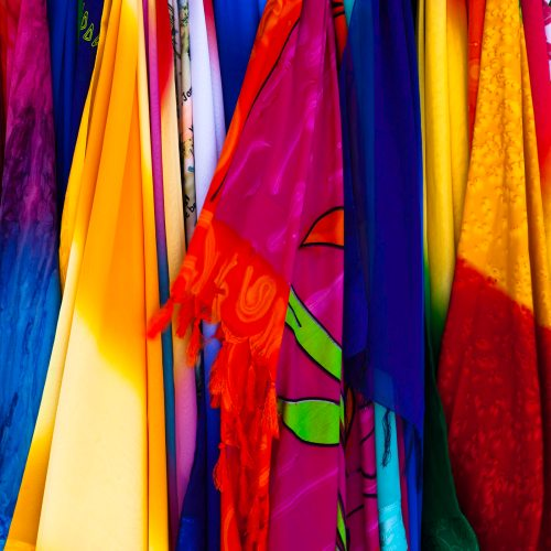 vibrant fabrics on sale in the Caribbean